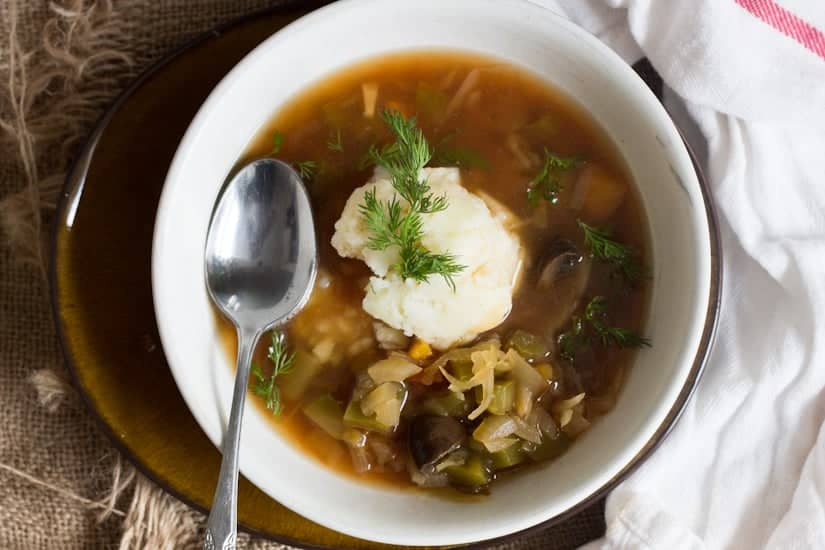 This Slovakian sauerkraut soup is tangy and rich in flavour, full of plump mushrooms and juicy strands of cabbage. A full winter meal!