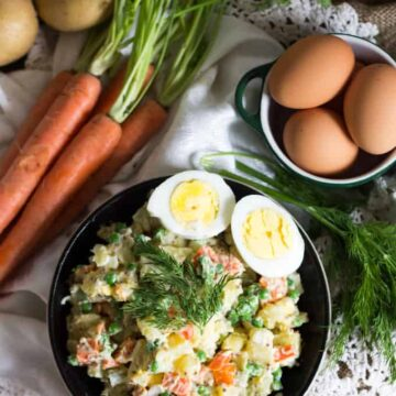 Vegetarian Olivier salad is a classic of Russian cuisine, a filling salad chock-full of root vegetables, eggs and a fresh, bright dressing.
