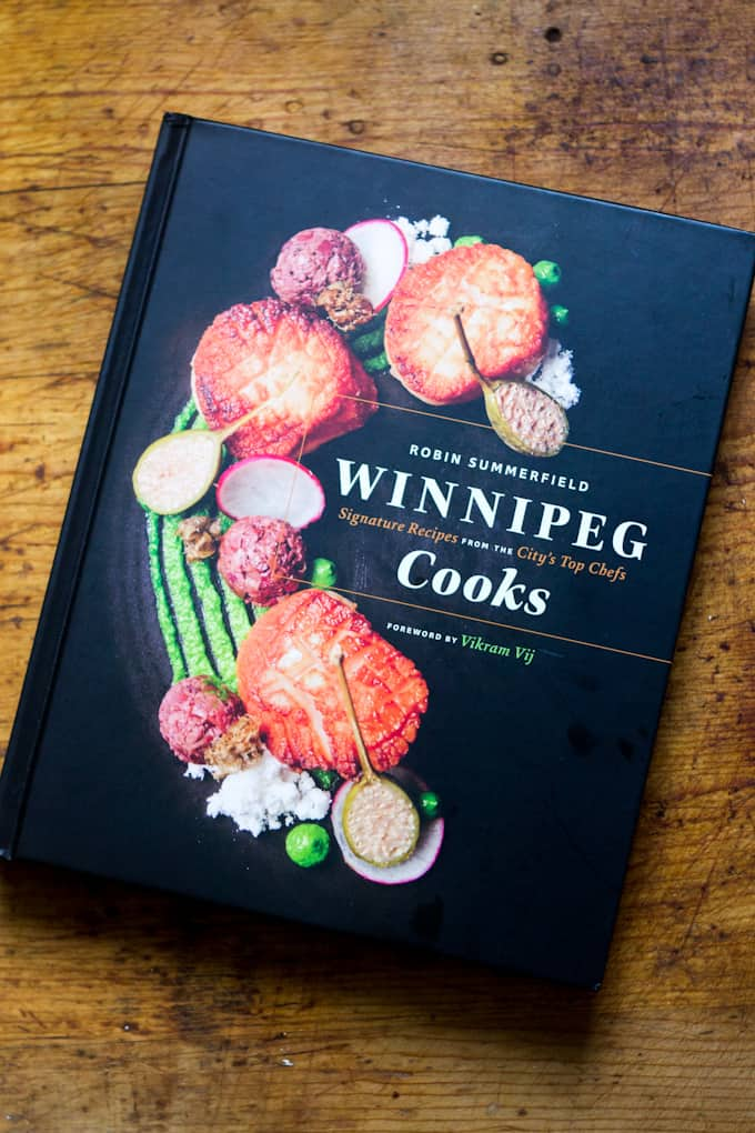 Beet latkes with dill creme fraiche, by Chef Leighton Fontaine from the Winnipeg Cooks cookbook giveaway