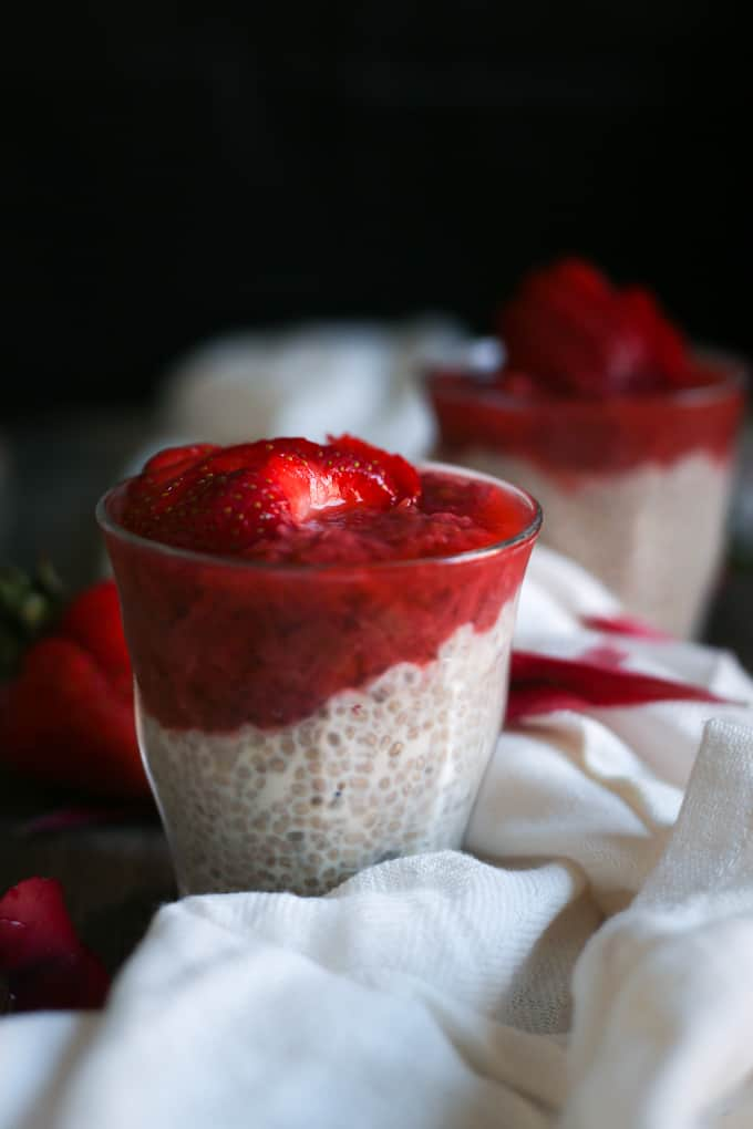Stewed strawberry rhubarb compote with chia coconut pudding