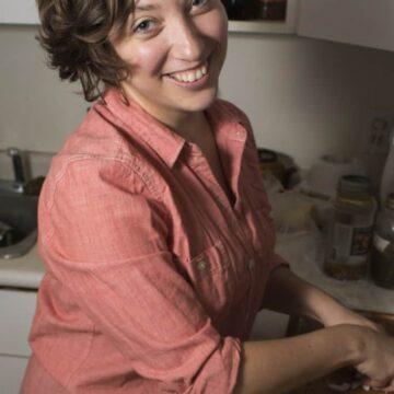 Ksenia Prints in her kitchen