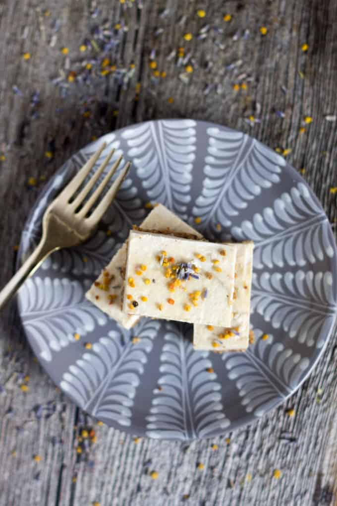 Raw sweet lime bars with lavender and bee pollen