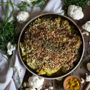{GIVEAWAY} German roasted cauliflower with curry cashew crust and a New German Cooking cookbook giveaway {V, GF, Paleo}