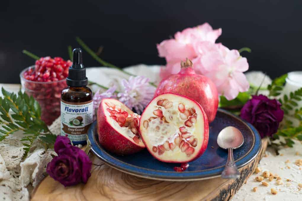Vegan malabi with strawberry rose syrup & pomegranate arils