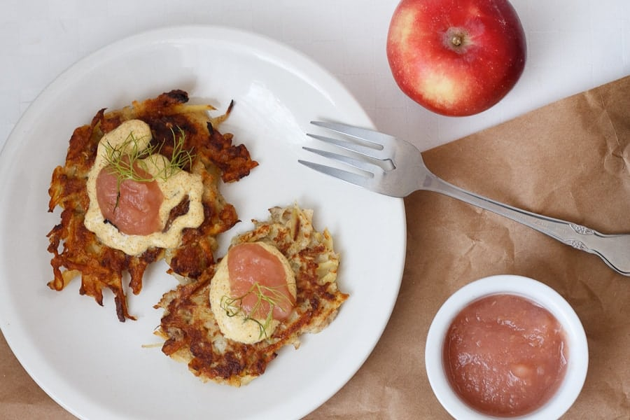 Apple potato latkes with curried yogurt sauce