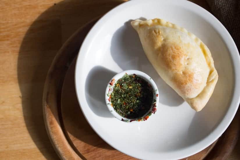 empanada and chimichurri