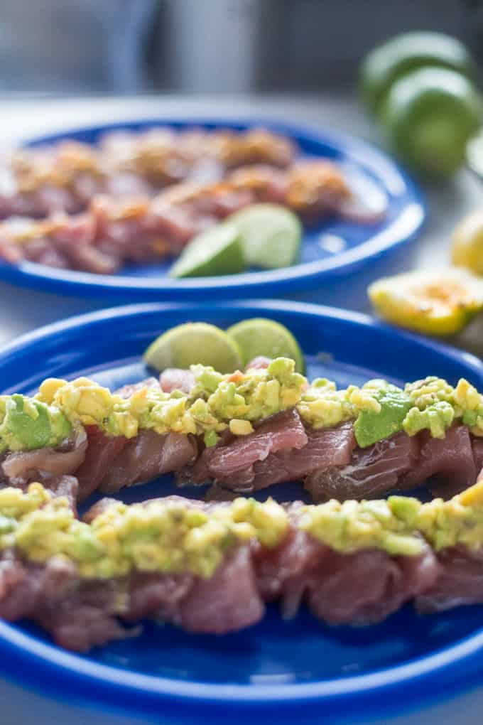Tuna carpaccio with avocado and passion fruit