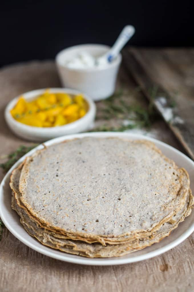 Buckwheat crepes with ricotta and thyme peach confiture