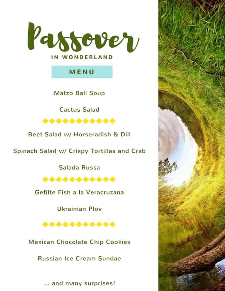 Passover in wonderland menu