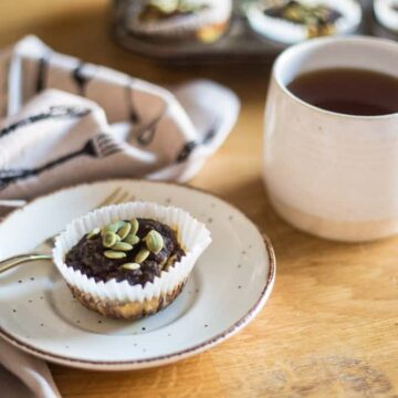 Gluten-free, sugar-free pumpkin muffins with cream cheese icing