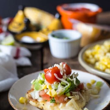 Authentic Colombian cheese arepas with all the fixings (Arepas de Queso)
