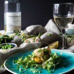 Grilled scallops with lemon-mint Pinot Grigio sauce on crispy pea cakes {GF, DF}