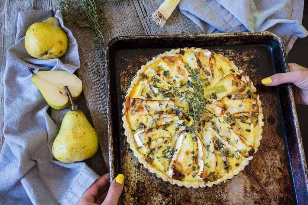 Gluten-free brie and pear quiche