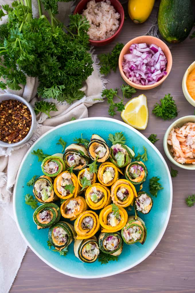 Snow crab zucchini rolls from the Great Shellfish Cookbook