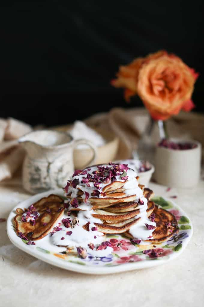 Gluten-free Russian pancakes with rose petals and kefir