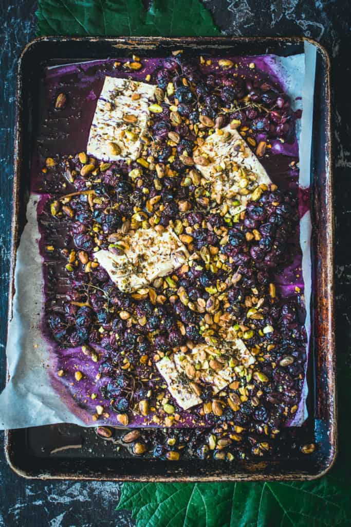 Cooked Tray with fresh feta and grapes