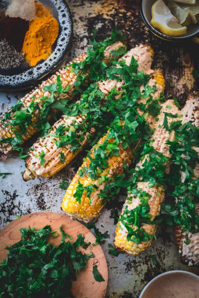 Middle Eastern grilled corn, ready