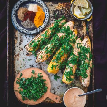 Middle Eastern grilled corn, prepared