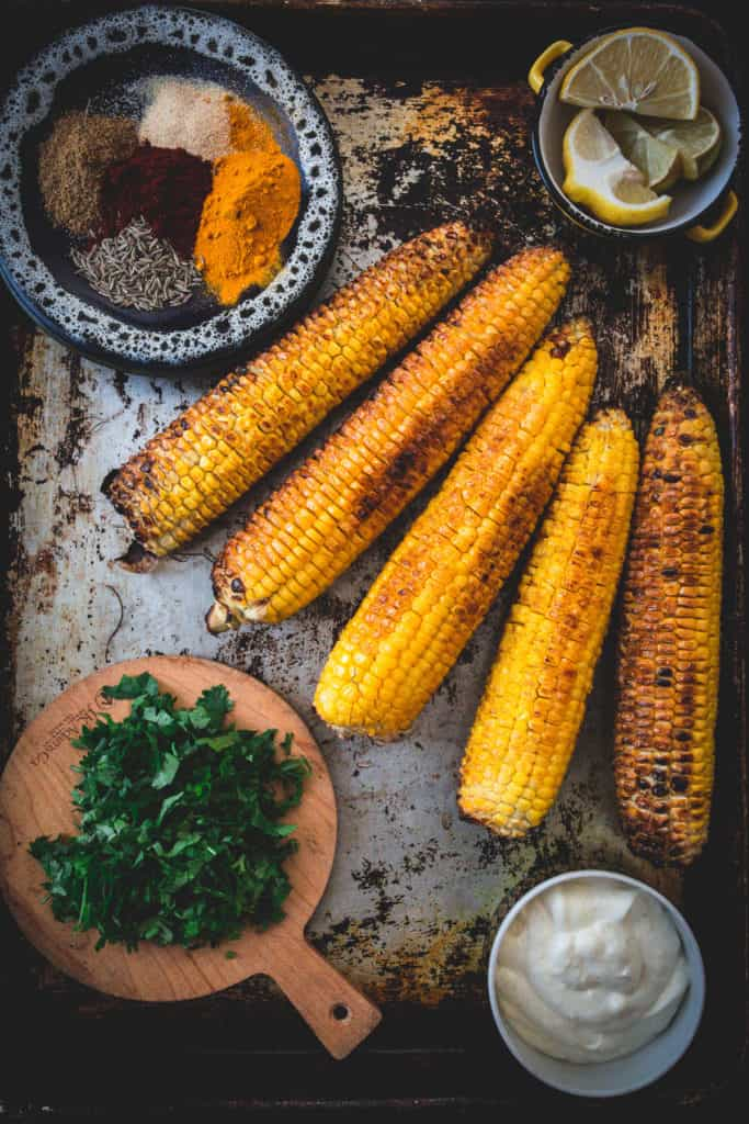 grilled corn, minced cilantro and spices