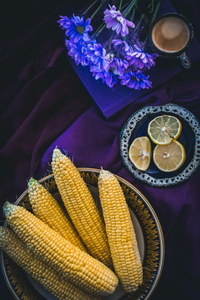 corns, lemons, flowers