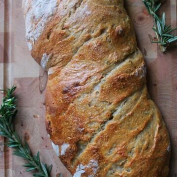 Rosemary sourdough bread aerial view