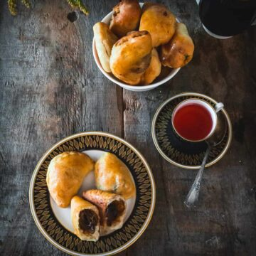 Get Cozy with Baked Russian Vegetarian Pirozhki with three different fillings, the ultimate comfort food