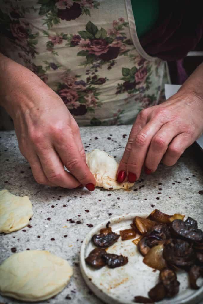 Crimping Russian vegetarian pirozhki