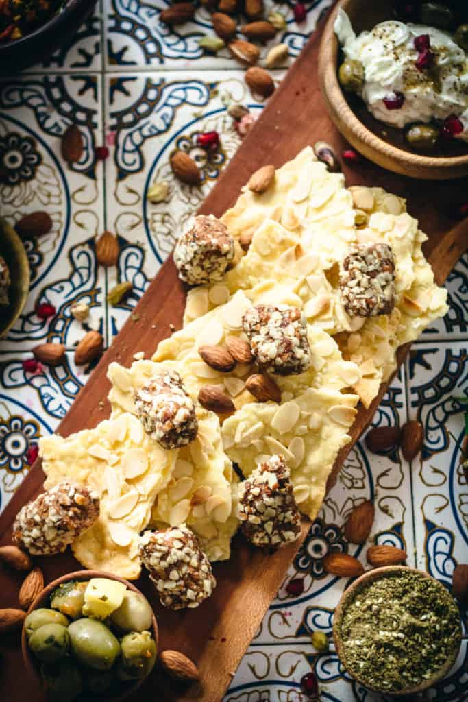 Lavosh Crackers and olives and whipped labaneh