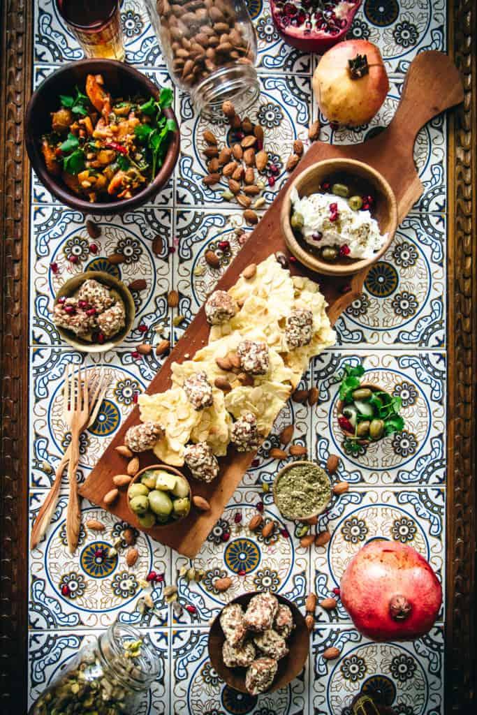 Ultimate Middle Eastern Appetizer Platter - flatlay