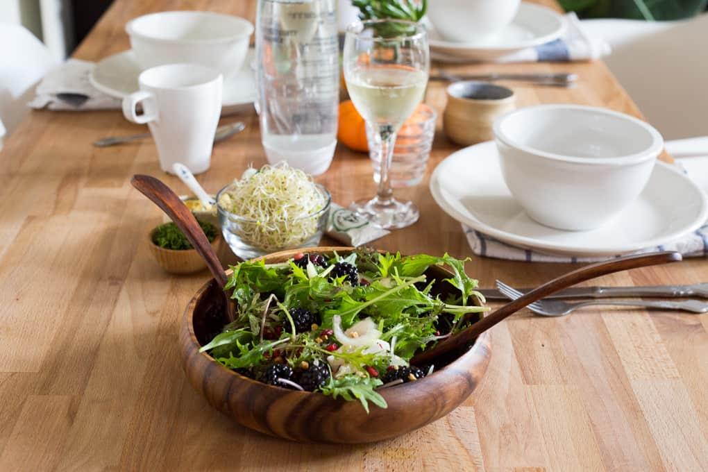 salad on set table