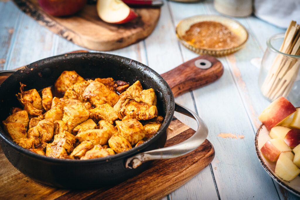 shawarma chicken in a pan