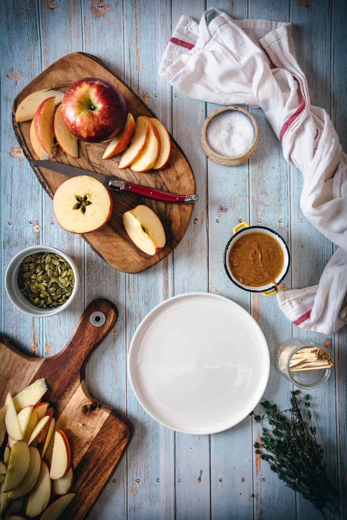 ingredients for sweet apple nachos