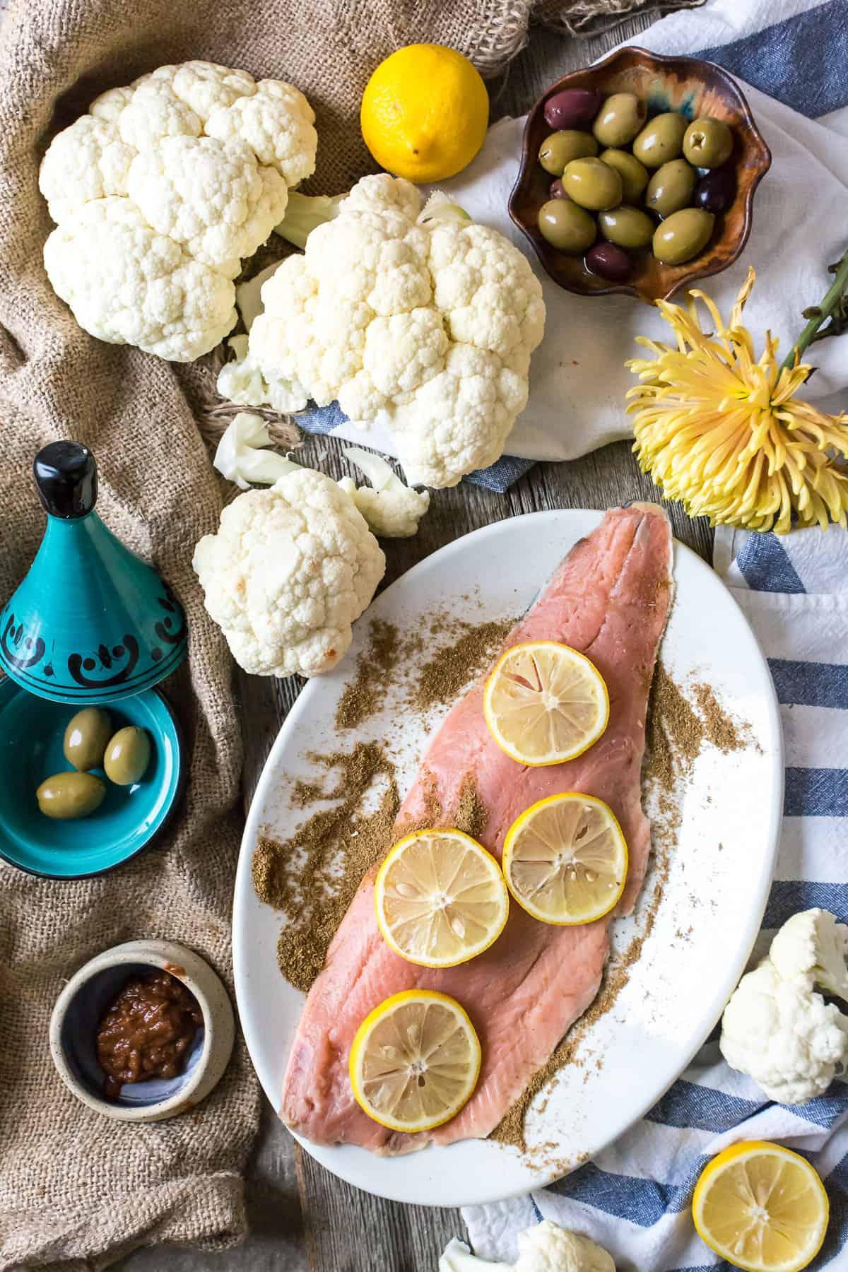 raw salmon with lemon slices