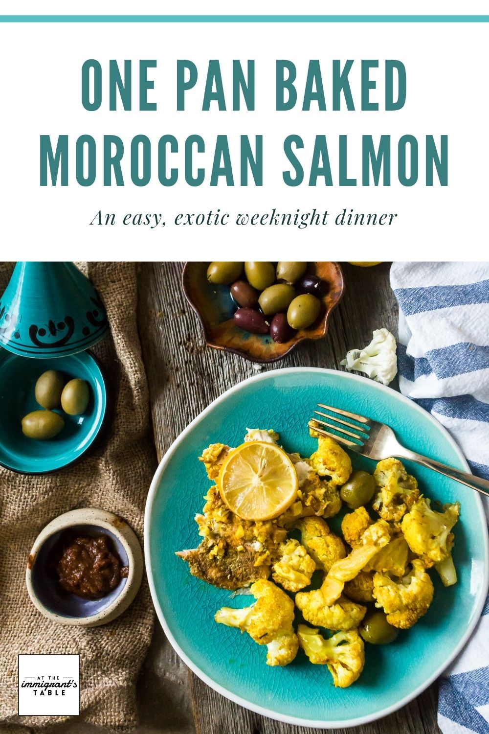 pinterest graphic of cauliflower salmon and olives on a plate
