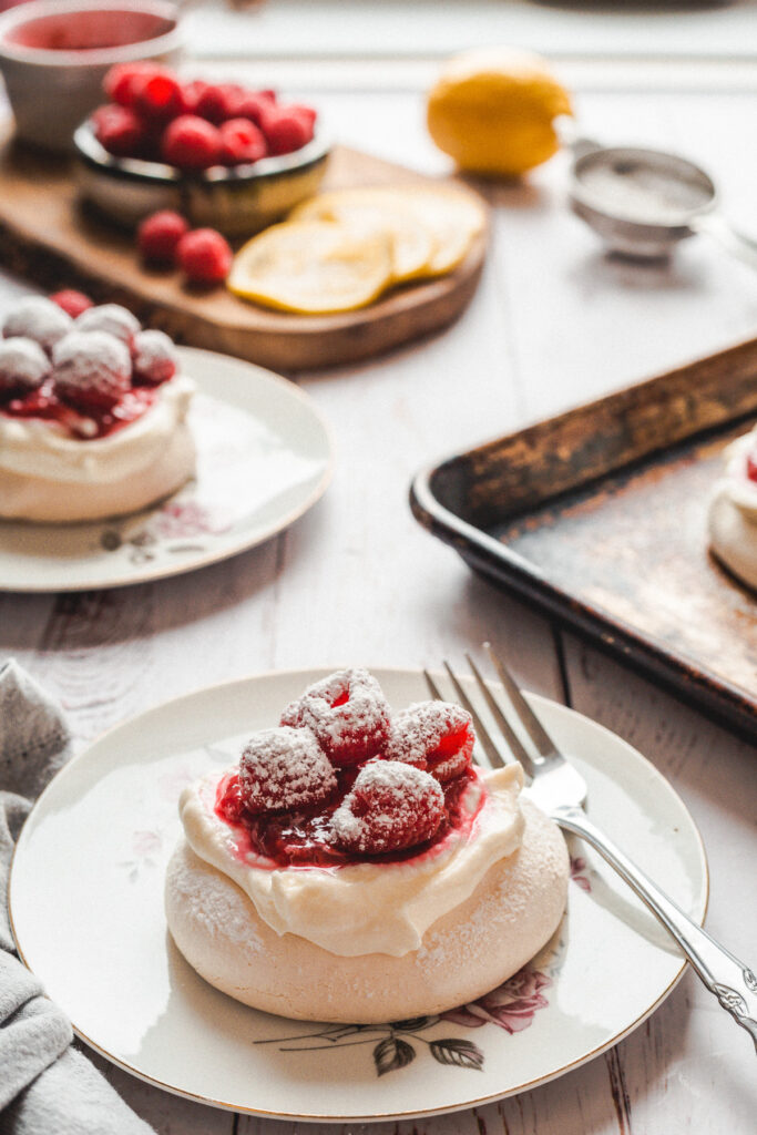 raspberry mini pavlova on a plate