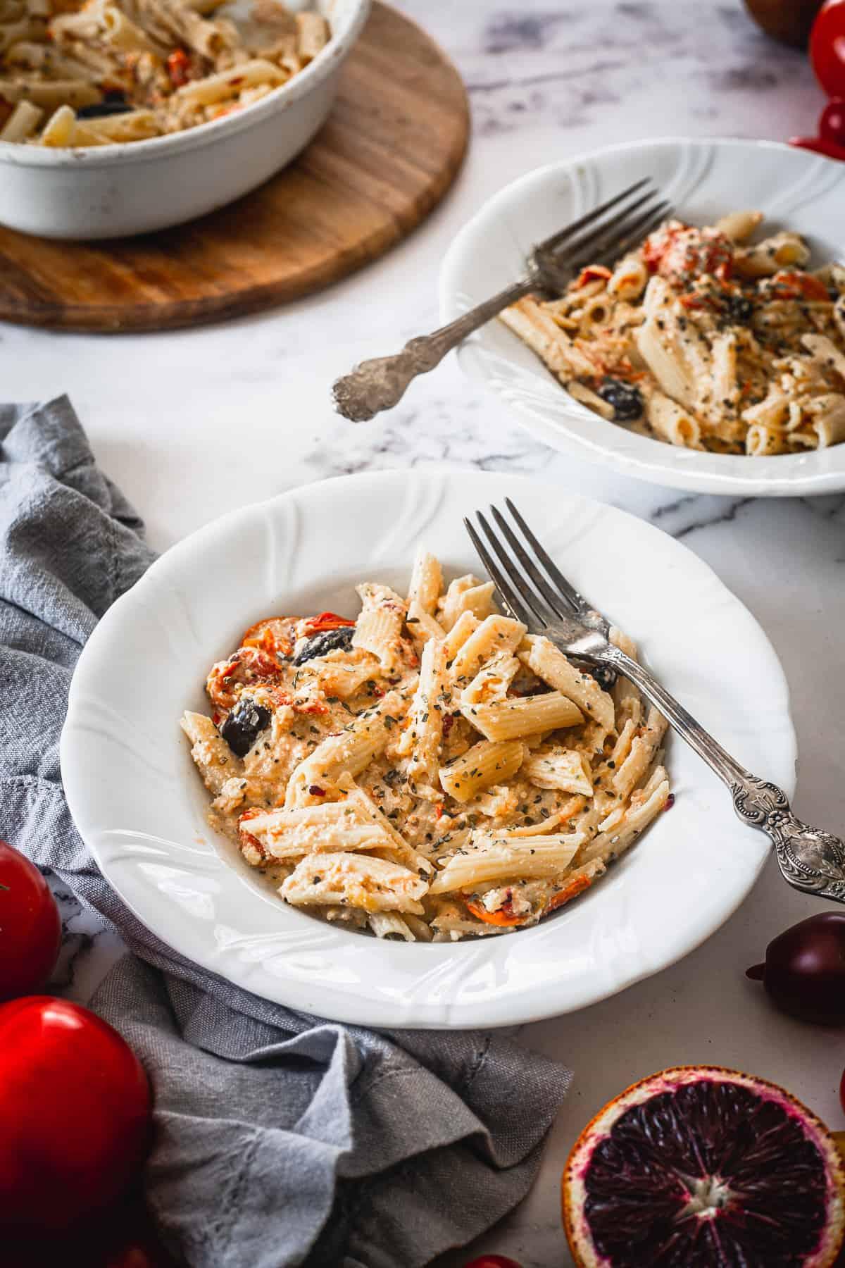 plate of baked feta pasta