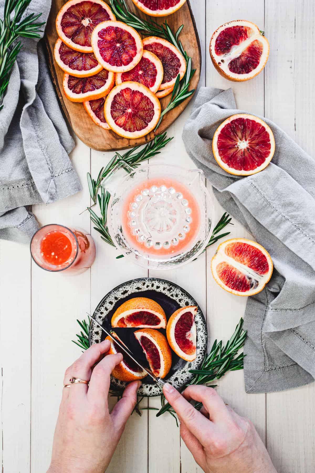 slicing blood oranges