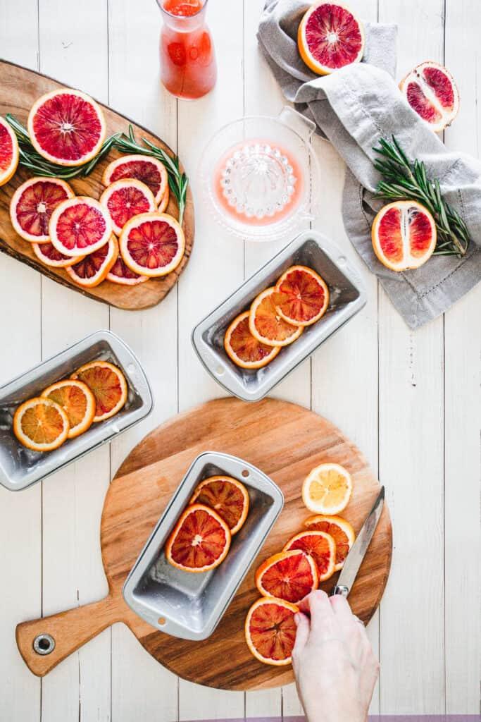 arranging blood orange slices