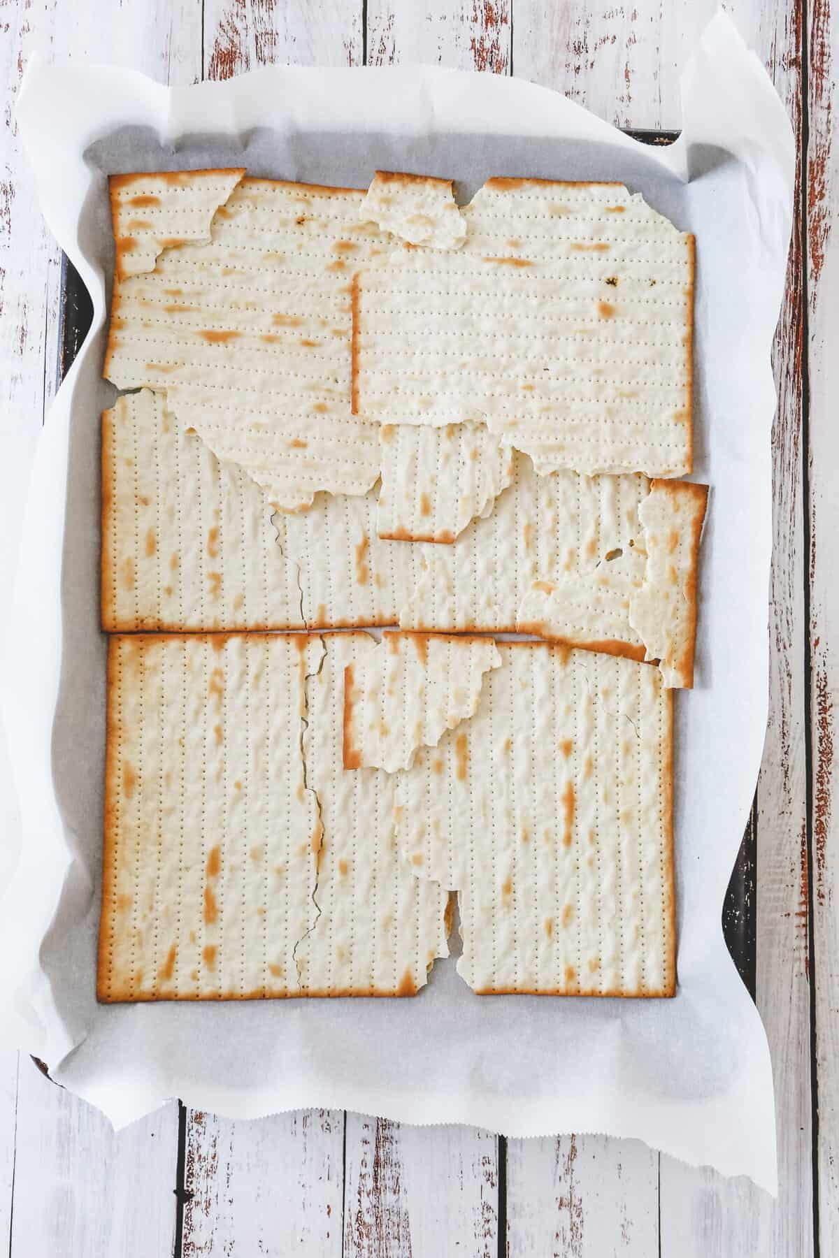 matzos on baking sheet