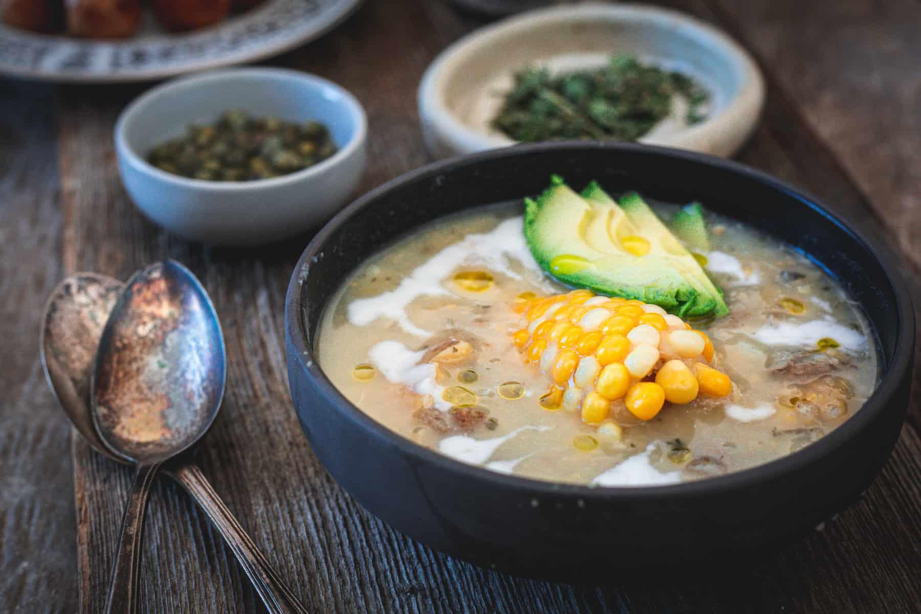 ajiaco bowl, guascas, capers
