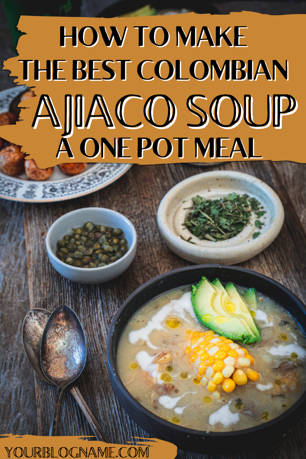 ajiaco chicken soup in bowl with avocado and corn