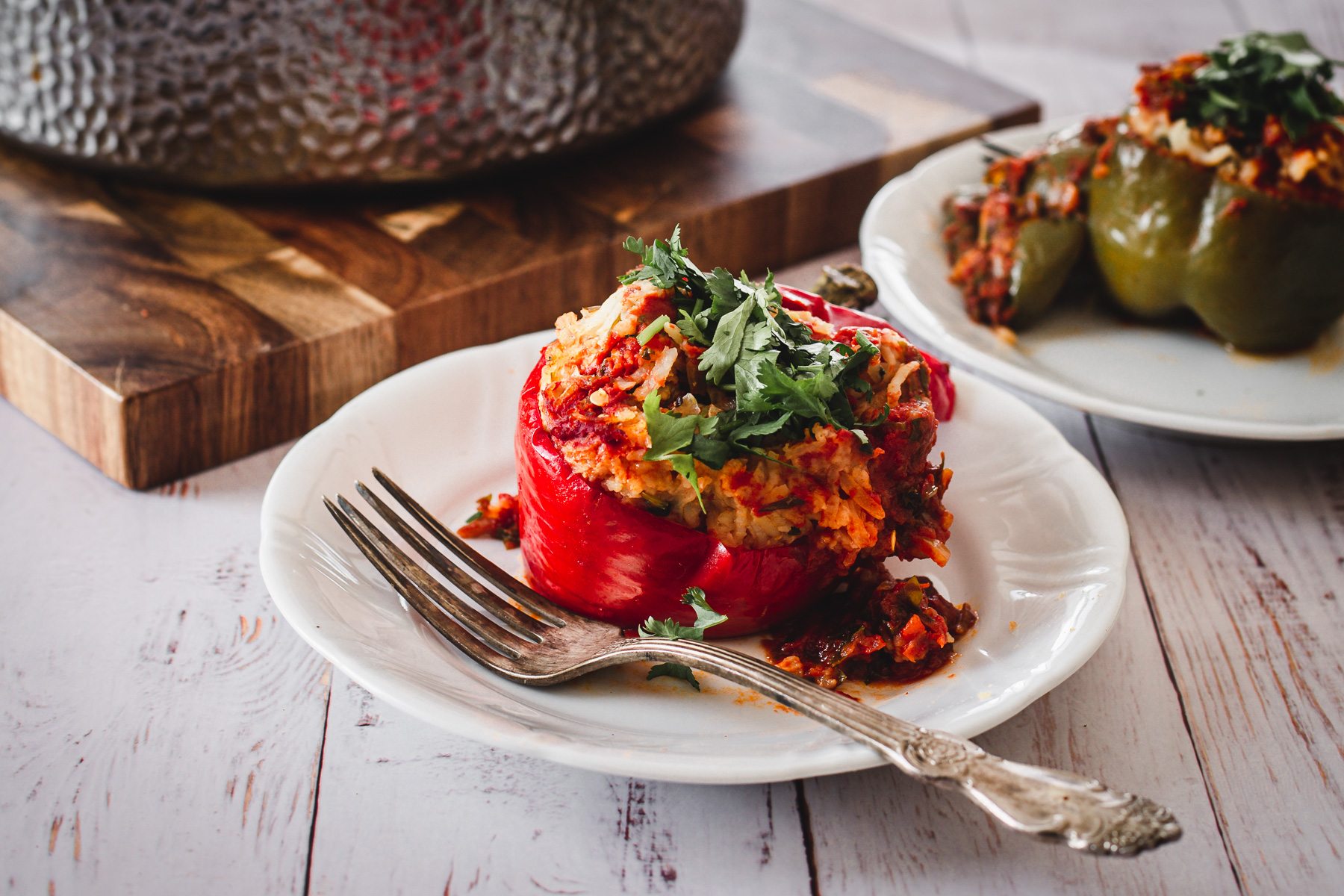 two stuffed peppers