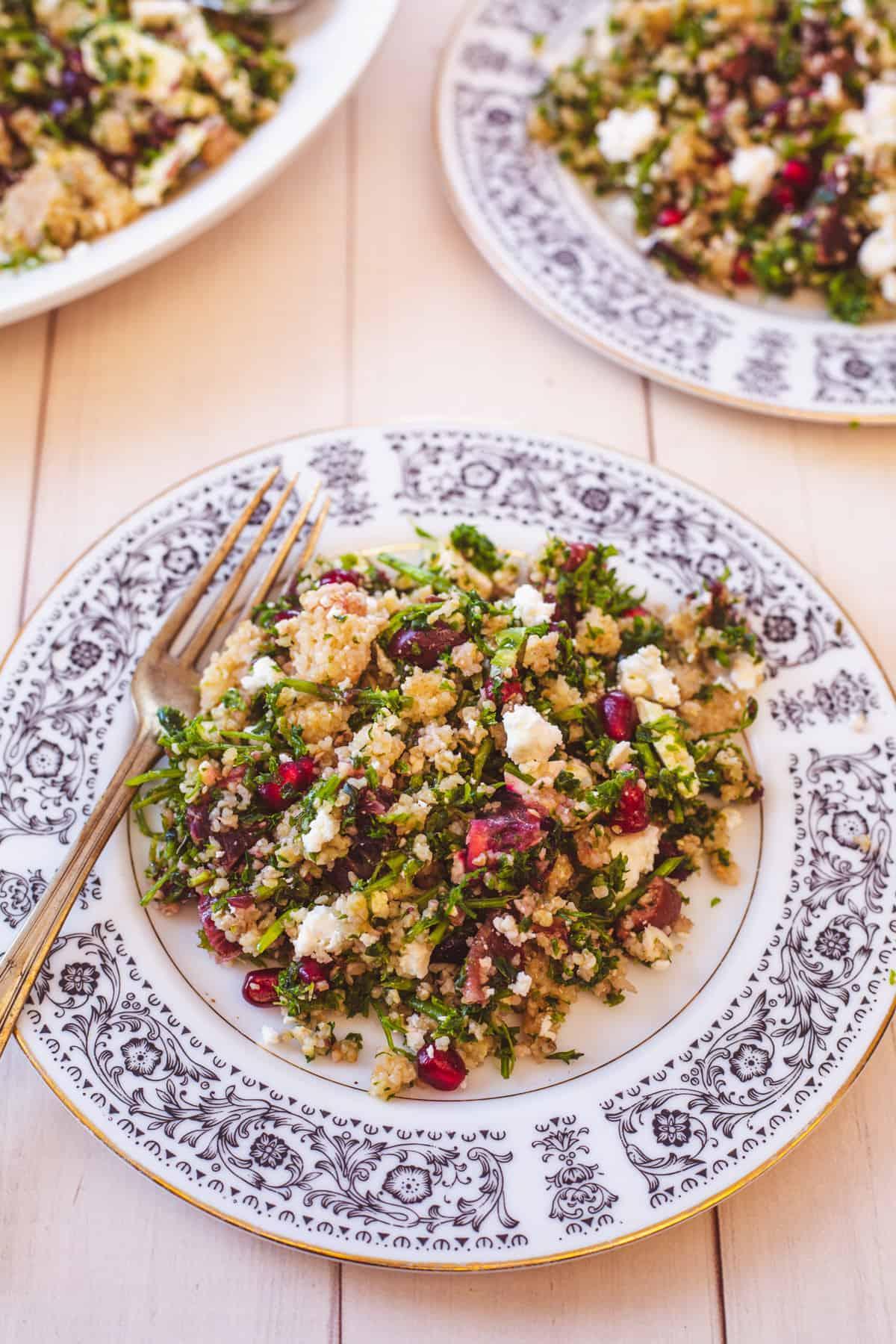 three plates of bulgur salad