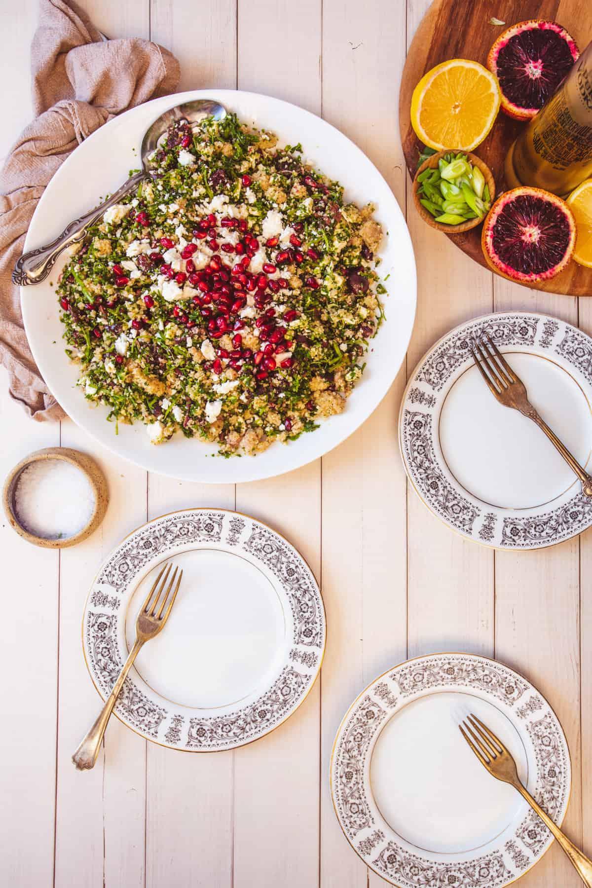 bulgur salad with three plates