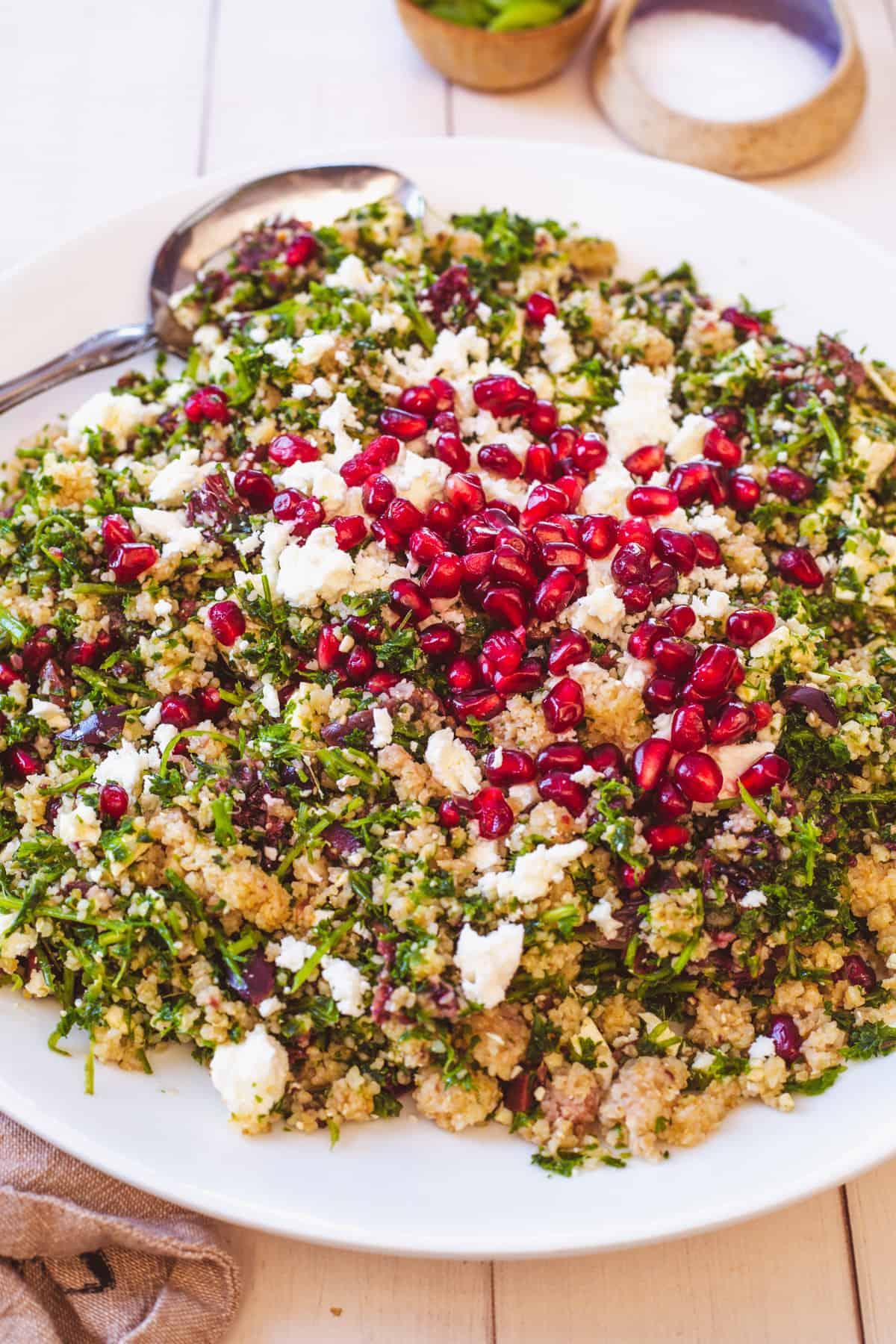 bulgur salad with serving spoon