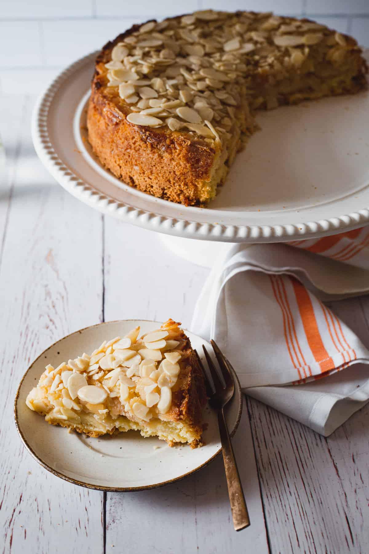 apple cake slice against cake