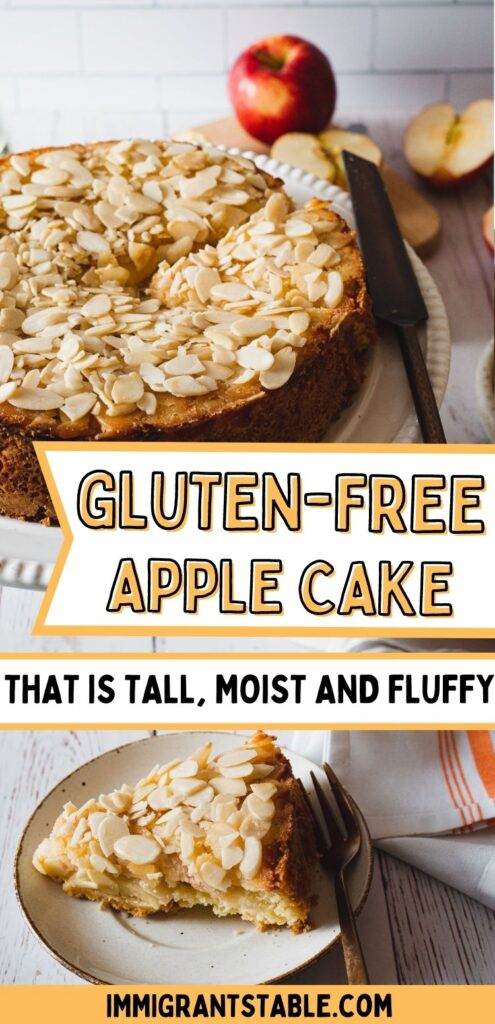 gluten free apple cake that is tall, moist and fluffy