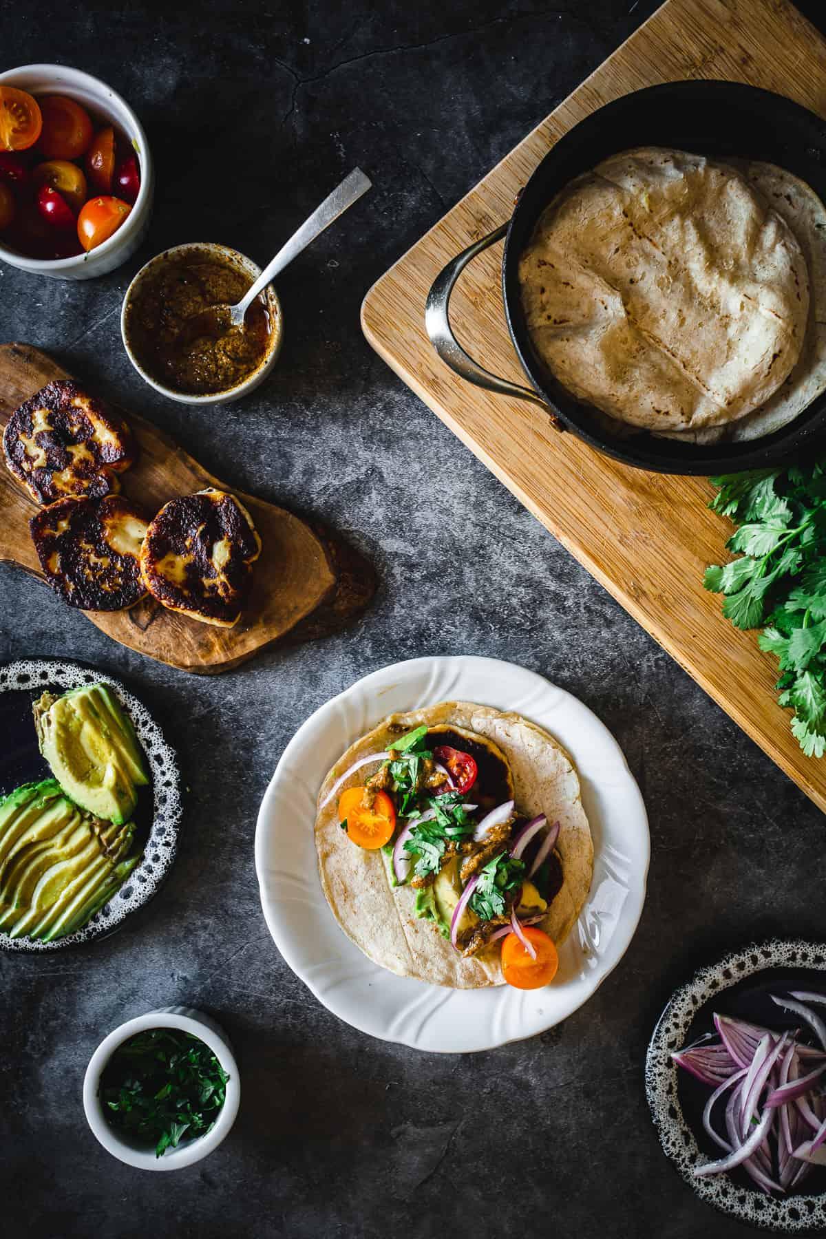 assembling halloumi tacos