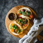 three halloumi tacos on board
