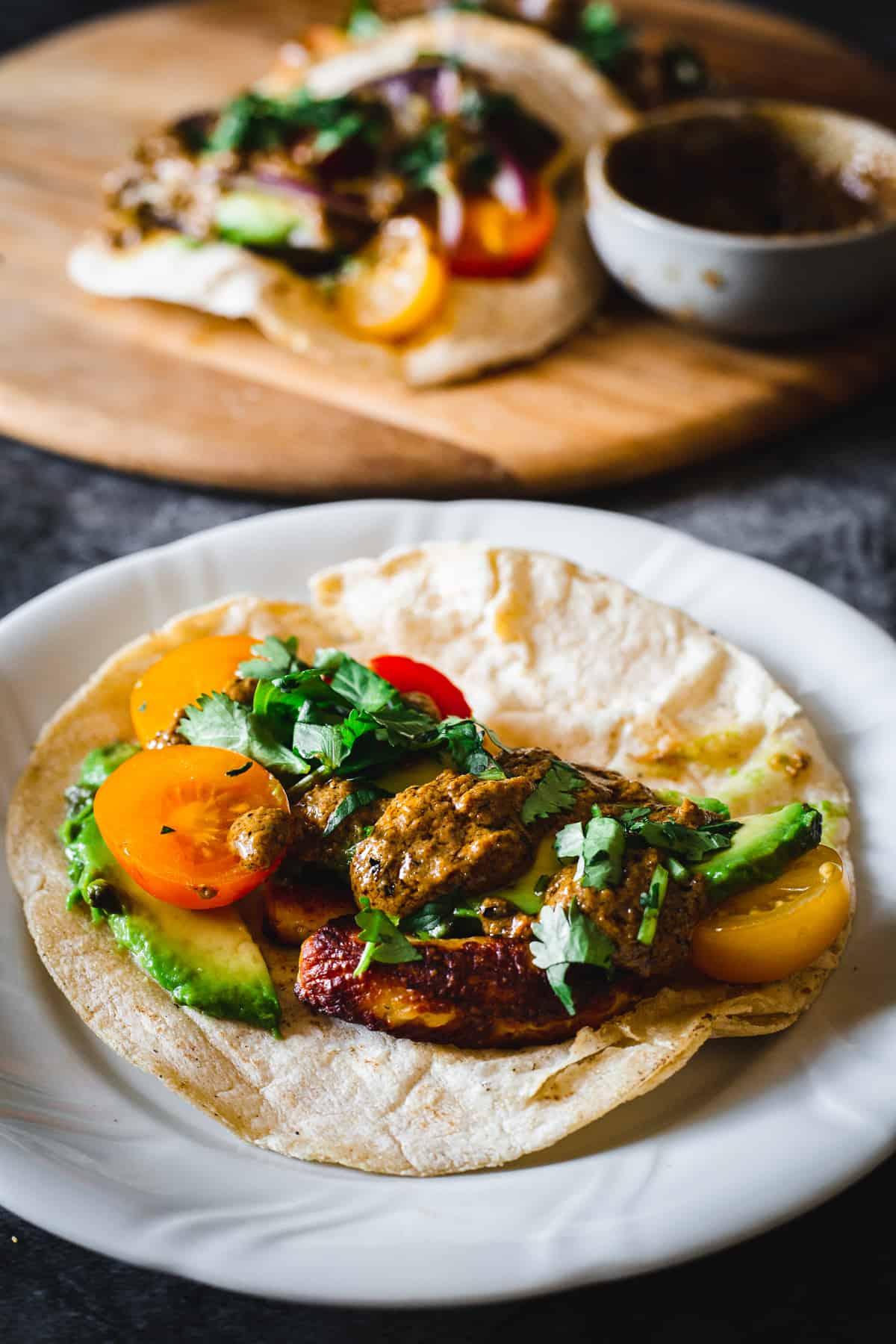 close up on halloumi tacos